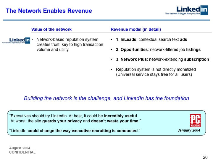 LinkedIn Series B Pitch Deck to Greylock: Slide 20