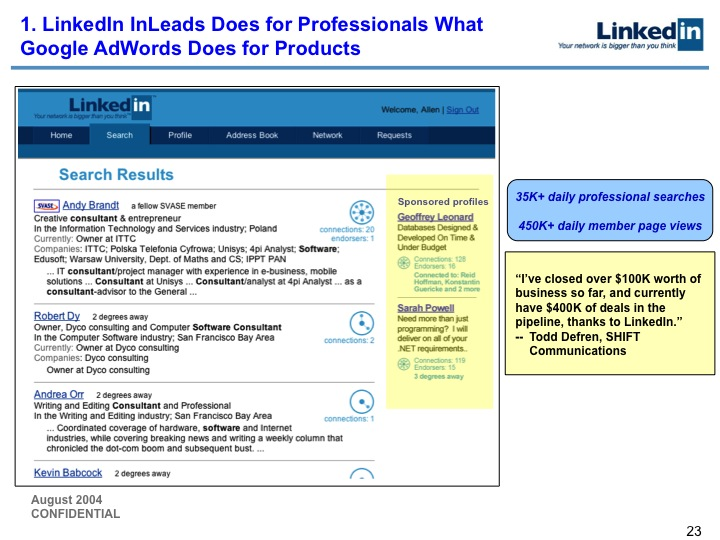 LinkedIn Series B Pitch Deck to Greylock: Slide 23
