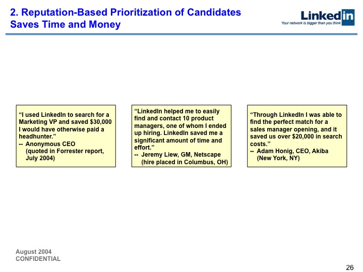 LinkedIn Series B Pitch Deck to Greylock: Slide 26